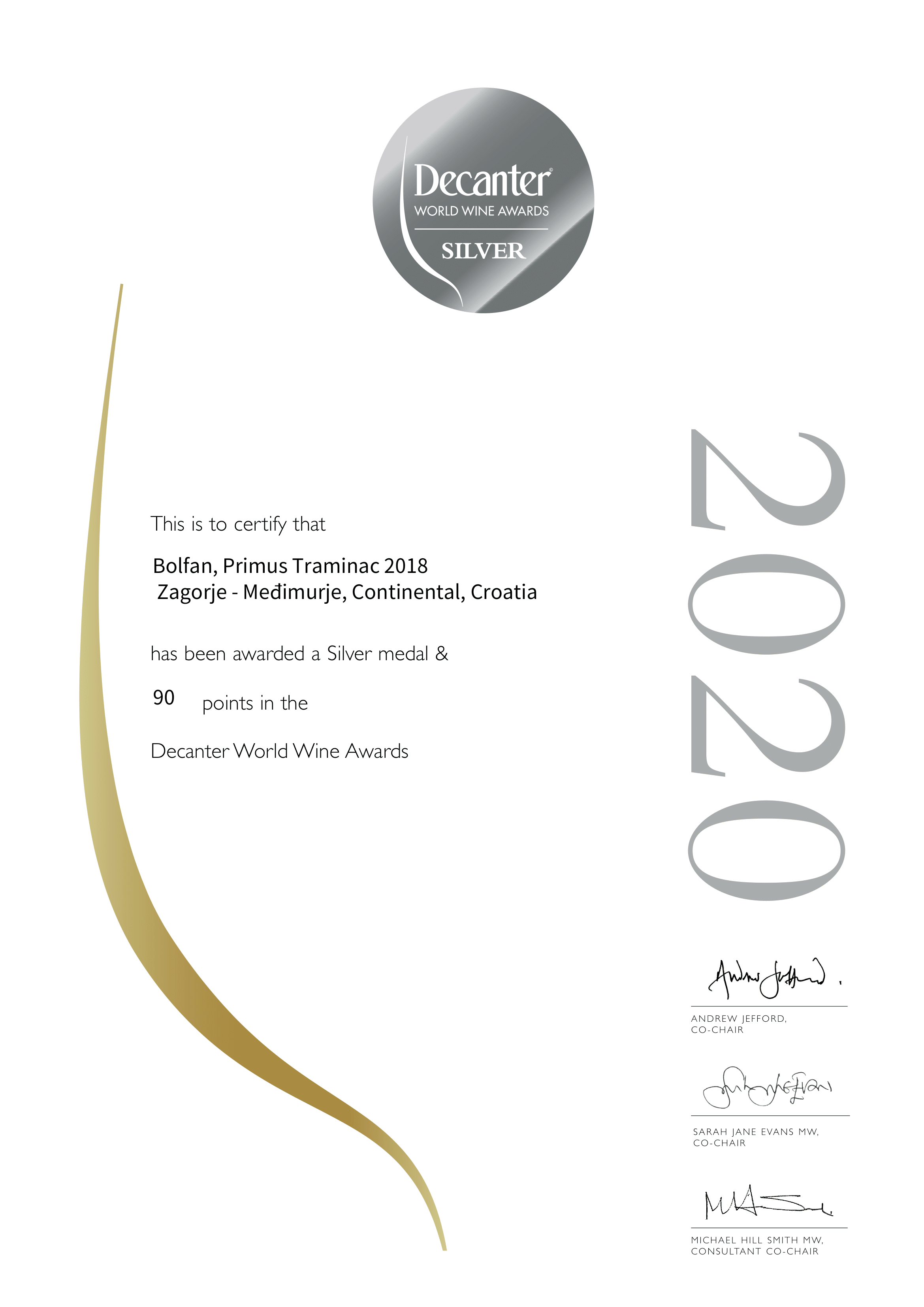Decanter 2020 - ECO Bolfan vina