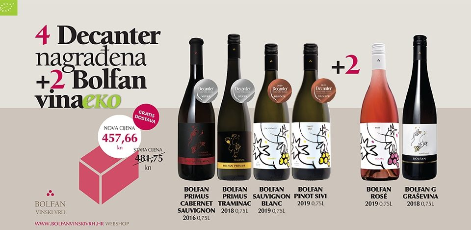 Bolfan kutija EKO vina – 4 Decanter nagrađena + 2 eko vina