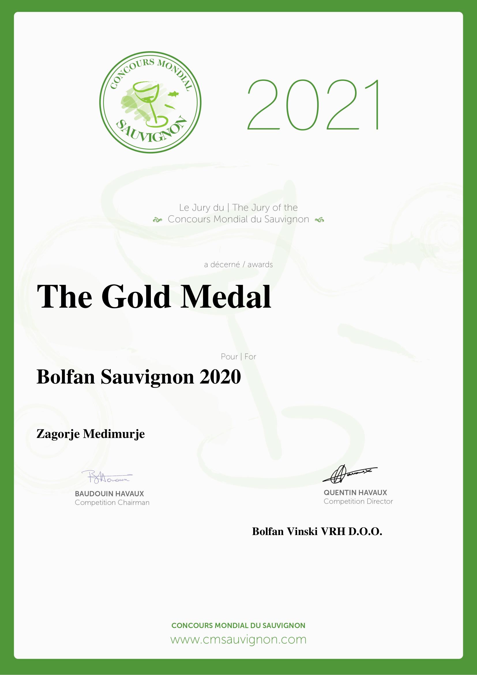 Concurs mondial du Sauvignon 2021